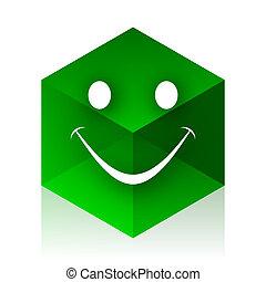 háló, köb, modern, elem, tervezés, mosoly, ikon, zöld