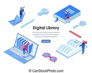 háló, könyvtár, vektor, sablon, digitális, transzparens