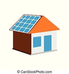 háló, lakás, elem, épület, energia, ábra, címke, háttér., vektor, nap-, nap, icon., fehér