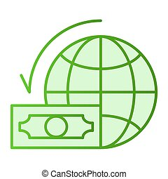 háló, mód, 10., ikonok, gradiens, pénz, földgolyó teljes, dollár, eps, lakás, style., bolygó, app., zöld, tervezett, költségvetés, divatba jövő, világ, icon., tervezés