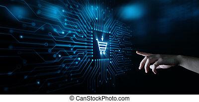 háló, megvesz, internet, kordé, e-commerce, összead, fogalom, online készlet