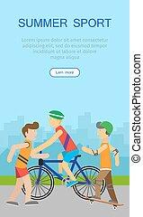 háló, poster., haladó, sport, transzparens, gyerekek