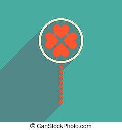 háló, szív, cukorka, ikon, árnyék, lakás, hosszú