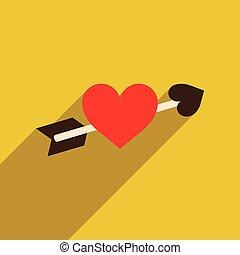 háló, szív, ikon, árnyék, lakás, hosszú, nyíl