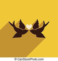 háló, szív, madarak, ikon, árnyék, lakás, hosszú