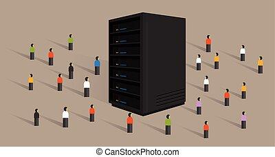 háló, tolong, emberek, nagy, hosting, együtt, ministráns, részesedés, adatok