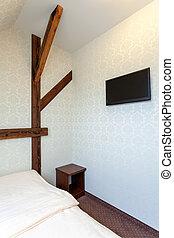 hálószoba, modern, klasszikus, meleg, hotel