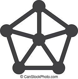 hálózat, ábra, háttér., vektor, fekete, fehér, ikon