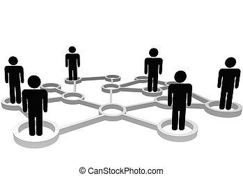 hálózat, ügy emberek, összekapcsolt, társadalmi, nodes, vagy