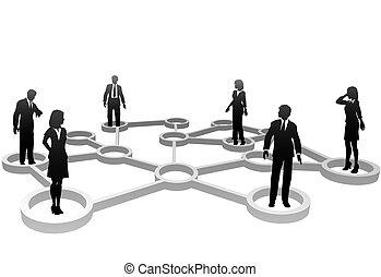 hálózat, ügy emberek, körvonal, összekapcsolt, nodes