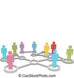 hálózat, ügy emberek, különböző, összekapcsol, társadalmi, vagy