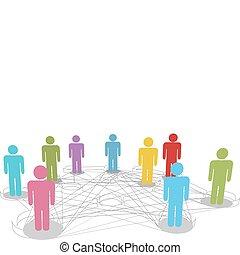 hálózat, ügy emberek, kapcsolatok, összekapcsol, társadalmi, egyenes