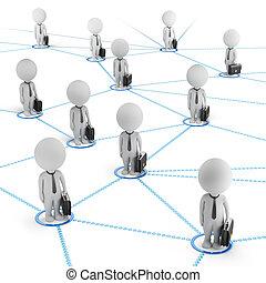 hálózat, ügy emberek, -, kicsi, 3