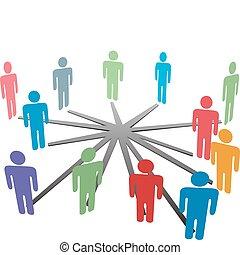 hálózat, ügy emberek, média, összekapcsol, társadalmi, vagy
