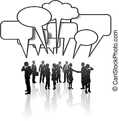 hálózat, ügy emberek, média, kommunikáció, brigád társalgás