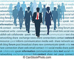 hálózat, ügy emberek, média, társadalmi, fogalom