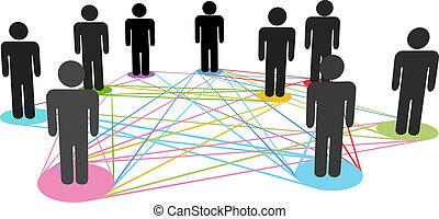 hálózat, ügy emberek, szín, kapcsolatok, társadalmi