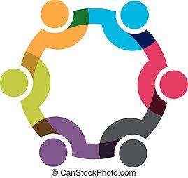 hálózat, csoport, ügy emberek, 6, men., vektor, tervezés, társadalmi