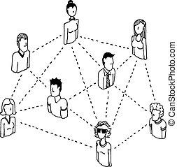 hálózat, emberek, /, 2, connecting, összeköttetés, társadalmi