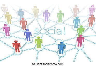 hálózat, emberek elpirul, média, kapcsolatok, társadalmi