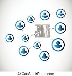 hálózat, emberek, képzés, szeminárium