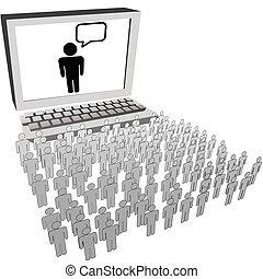 hálózat, emberek, karóra, kihallgatás, számítógép, társadalmi, monitor