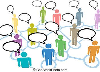 hálózat, emberek, kommunikáció, kapcsolatok, beszéd, társadalmi, beszél
