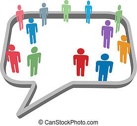 hálózat, emberek, média, jelkép, beszéd, társadalmi, buborék