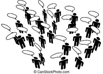 hálózat, emberek, média, közöl, beszéd, összekapcsol, társadalmi