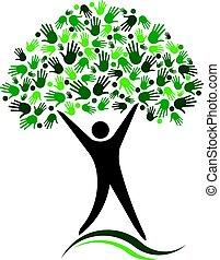 hálózat, fa, társadalmi, jel, design., barátok, ember