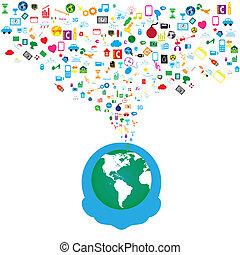 hálózat, ikonok, média, háttér, társadalmi, ember