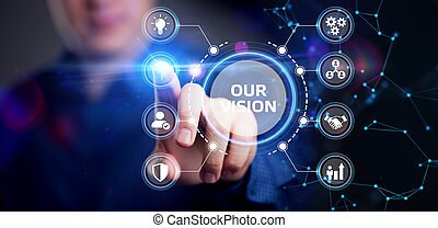 hálózat, jövő, ügy, tényleges, internet, dolgozó, concept., technológia, üzletember, ellenző, látomás, fiatal, őt ért, mienk, inscription: