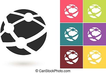 hálózat, jelkép, vektor, társadalmi, vagy, ikon