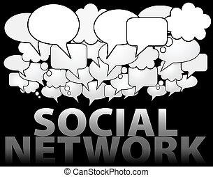 hálózat, média, beszéd, társadalmi, buborék, felhő