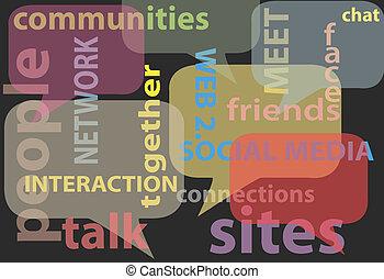 hálózat, média, szavak, társadalmi, panama, beszél