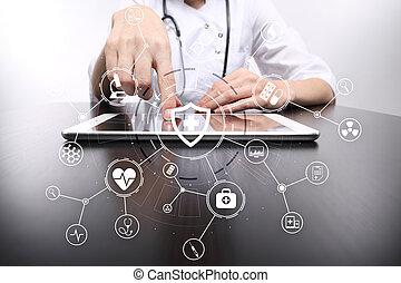 hálózat, orvosi doktor, ellenző, modern, connection., tényleges, orvosság, számítógép, határfelület, concept., ikon