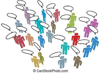 hálózat, színes, emberek, média, beszéd, társadalmi, gyűlés