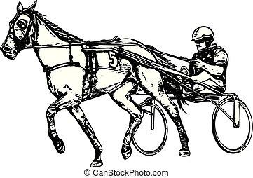 hám, rajz, ügető ló