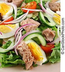hányódás, tonhal, tojás, saláta