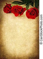 három, háttér, agancsrózsák, grunge, felett, piros