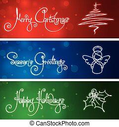 három, karácsony, szalagcímek