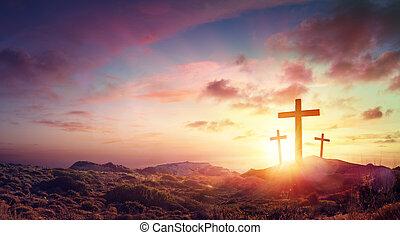 három, krisztus, napnyugta, hegy, keresztbe tesz, keresztre feszítés, jézus