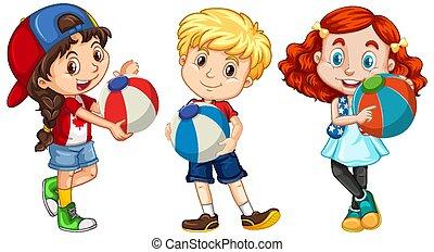 három, labda, színes, gyerekek, birtok, különböző