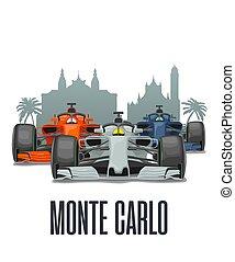 három, versenyzés, carlo, cityline, prix, monaco., monte, nagy, autók