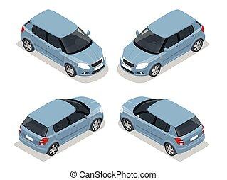 háromajtós kiskocsi, icon., szállít, isometric, magas, autó., vektor, város, lakás, illustration., 3, minőség