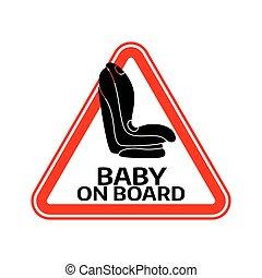 háromszög, autó, böllér, aláír, háttér., bizottság, gyermek, csecsemő, fehér, ülés, warning., piros