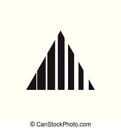 háromszög, csíkoz, indítvány, vektor, jel, geometriai