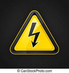 háromszög, fém, lehetőség cégtábla, magas, figyelmeztetés, feszültség, felszín