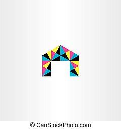 háromszög, poligon, színes, épület, vektor, ikon