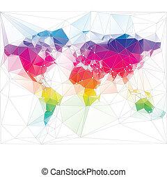 háromszög, világ, tervezés, színezett, térkép
